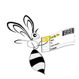 Bee holding in her hand a plane ticket Stock Images