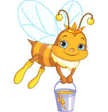Bee holding a honey bucket. Cute bee flies with a bucket full of honey stock illustration