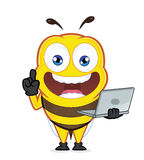 Bee holding a laptop. Clipart picture of a bee cartoon character holding a laptop Royalty Free Stock Photos