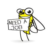 Bee holding a need job sign. A bee smiling and holding a need work sign Stock Photo