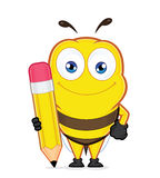 Bee holding a pencil. Clipart picture of a bee cartoon character holding a pencil Royalty Free Stock Photography