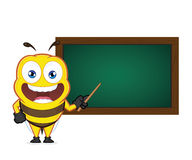Bee holding a pointer stick with a chalkboard Stock Photos