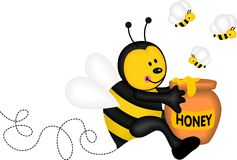 Bee holding a pot of honey Stock Photos
