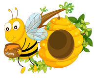 A bee holding a pot of honey near the beehive Stock Images