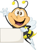 Bee Holds Sign And Waves Hello Royalty Free Stock Image