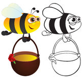 Bee with honey. Color and contour stock illustration
