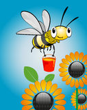 Bee and honey. Jolly bee carries a bucket of honey over the flowers stock illustration