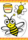 Bee and honey. Illustration of a bee carrying a honey Royalty Free Stock Photos