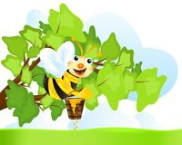 Bee with honey, cdr vector Royalty Free Stock Photo