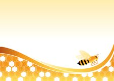 Bee on Honey Cells. Vector illustration. All elements are on separate layers and can be easily edited Royalty Free Stock Photo