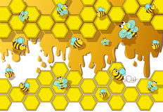 Bee and honey. Cute bee with honeycomb and honey in the background royalty free illustration