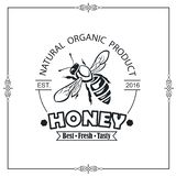 Bee honey emblem. Design of emblem with bee and honey on white background stock illustration