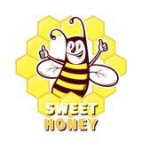 Bee honey emblem Royalty Free Stock Image