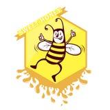 Bee honey emblem Stock Photos