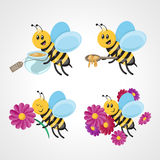 Bee with honey and flowers cartoon Royalty Free Stock Image