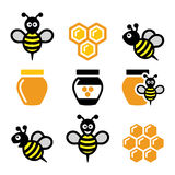 Bee and honey, honeycomb  icons set Royalty Free Stock Photography