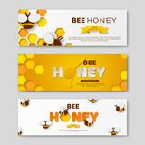 Bee honey horizontal banners with paper cut style letters, comb and bees, vector illustration. Bee honey horizontal banners with paper cut style letters, comb stock illustration