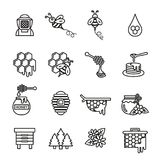 Bee and honey icon set. royalty free illustration