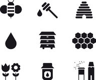 Bee and honey icon set Stock Images