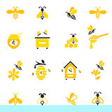 Bee and honey icon set. Set of honey and bee labels for honey logo products. Vector illustration isolated on white background vector illustration