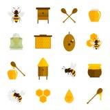 Bee Honey Icons Flat Set Stock Image