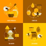 Bee honey icons flat Royalty Free Stock Image