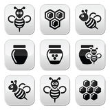 Bee and honey  icons set Stock Photo