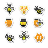Bee and honey  icons set Royalty Free Stock Photo
