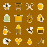 Bee honey icons stickers set Stock Image
