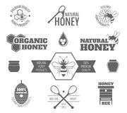 Bee honey label black. Bee honey premium quality products black label set isolated vector illustration stock illustration