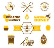 Bee honey label colored. Bee honey natural organic products colored label set isolated vector illustration vector illustration