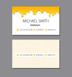 Bee honey logo and business card template. Linear bee sign with overlapping effect. Vector illustration in flat, line style for print or mobile Stock Photos