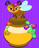 Bee and Honey Pot Stock Image