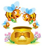 Bee and Honey Pot. A group of bee and the honey pot vector illustration