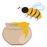 Bee and honey pot Royalty Free Stock Photos