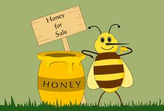 Bee and Honey Pot (Vector) Stock Photography