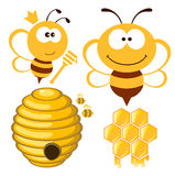 Bee and Honey set. Bee, hive and honey. Vector set royalty free illustration