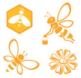 Bee and Honey set. Of 4 pieces vector illustration