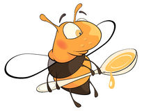 A bee with a honey spoon cartoon. Lovely bee with the big spoon with honey Royalty Free Stock Photo