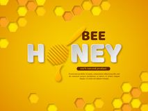 Bee honey typographic design. 3d paper cut style letters, comb and dipper. Yellow background, vector illustration. Stock Photography