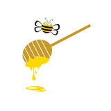 Bee and honey vector in colorful Stock Image