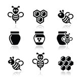 Bee and honey vector icons set Royalty Free Stock Images