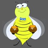 Bee with honey vector royalty free illustration