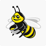 Bee with honey. Vector illustrations character bee carries honey bucket Stock Photography