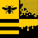 Bee Honeycells and Honey Patterns Set. Vector Royalty Free Stock Photo
