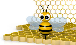 Bee and honeycomb Royalty Free Stock Image