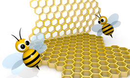 Bee and honeycomb Stock Photos