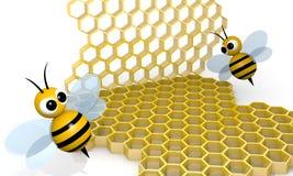 Bee and honeycomb Stock Photos