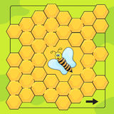 Bee and honeycomb game for Preschool Children. Help bee to walkthrough labyrinth Stock Photography
