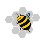 Bee and honeycomb illustration Royalty Free Stock Image